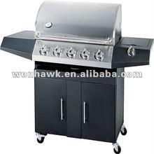 LPG 5 burner BBQ Grill power coating with one side burner for garden family