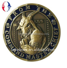 Die casting 3D design personalized challenge coins with old brass color