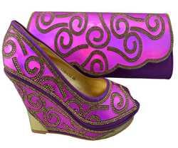 AB8325#1 fuchsia wholesale italian matching shoe and bag