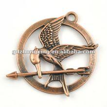 Pendant fitting bracelet charm,Antique Copper Bird&Arrow inside Round Charms for Bracelet making-A19611