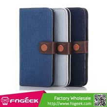 Jeans Cloth Leather Wallet Cover with Stand for HTC One M9