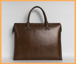 Mens Leather Computer Laptop Shoulder Tote Messenger Bag