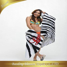 hebei gaoyang china 100% cotton velvet reactive printed super size girl sex beach towel 70*150cm