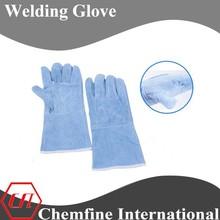 Bule cow split leather long sleeve one piece back welding glove
