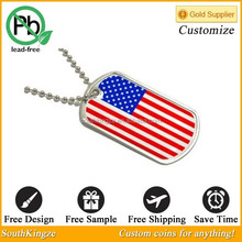 Wholesale Enamel Paint USA Flag Cheap Dog Tags For People