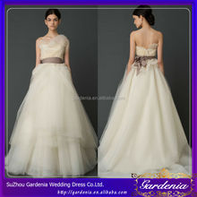 Ball Gown Discount Strapless Princess Tulle Brush Train Wedding Dress Tailor