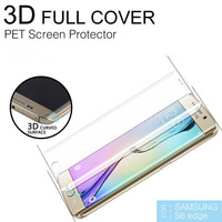 3d full cover curved crystal glass pet screen protector for samsung S6 edge