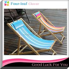 High Quality Canvas Beach Deck Chair / Adjustable Wooden Reclining Foldable Chair / Reclining Beach Wooden Folding Deck Chair