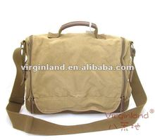 Men's bag 1212 khaki shoulder messenger bag leisure bag washed canvas bag