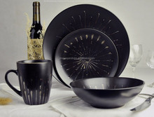 western restaurant eco ceramic stoneware salad plates in black color