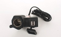 Motorcycle Waterproof Cigarette Lighter Power Port + Dual USB Charger multi port usb chargers