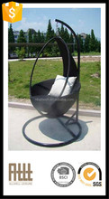 Modern garden round poly rattan style outdoor furniture swing hanging chair with replacement cushion covers AWRF5098B