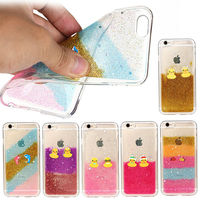 animal design glitter flowing clear transparent Soft TPU back cover case for apple iPhone 6