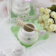 """Meant to Bee"" Ceramic Honey Pot + heart honey stirrer wedding souvenir and baby shower keepsake Porcelain Honey Jar"