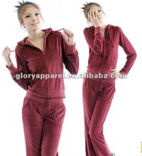Ladies new brand velour tracksuit 2012 new fashion