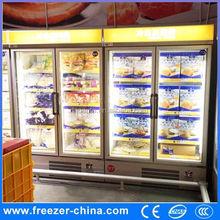 hot sale sliding glass door chest freezer for supermarket, packaging freezer foods display cabinet
