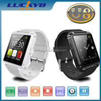 Steel Silicon 2.4GHZ spectrum multi language support music play stocked silicon sports wristband U8 wrist smart watch Android