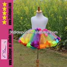 envío gratuito de diseño de moda belleza 2014 del arco iris cuentas tutu falda corta para los niños