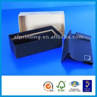 Cellphone case packaging cosmetic watch folding cardboard black gift box