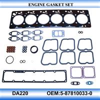 For OEM5-87810033-0 DA220 engine gasket set full set engine gasket kit
