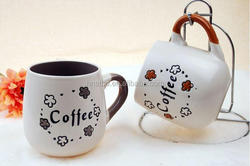 Ceramic milk mug set colorful with dots and with coffee logo