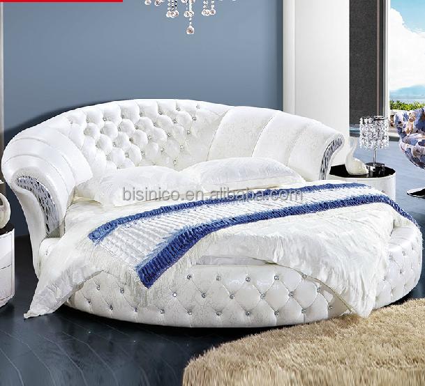 Contemporanea bianco puro in vera pelle letto matrimoniale rotondo letto id prodotto 1879829557 - Letto matrimoniale rotondo ...