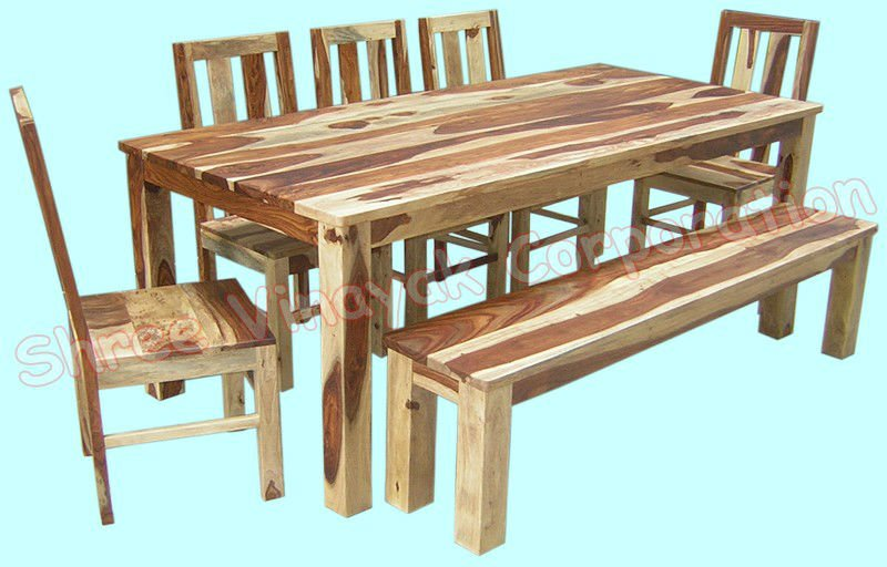 Sheesham Wood Furniture ~ Wooden dining table set sheesham wood furniture