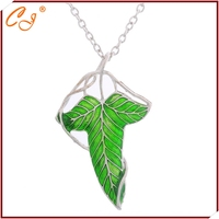 The Hobbit Necklace The Lord Film Vintage Elf Grean Leaf Broochss Pin Pendant Necklace For Men And Women Fine Jewelry Collar