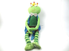 2015 cute long leg and long arm frog prince plush toy for girl