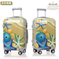 Plastic Trolley Luggage Bags for Trip with Cute Sea Animal Printing