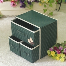 Home Storage Makeup Cosmetic Box Bag Household Organizer Foldable Container deep green