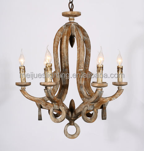 Wholesale 6 Bulbs Indoor Lighting Rustic Wooden Chandelier Rustic Home Chande