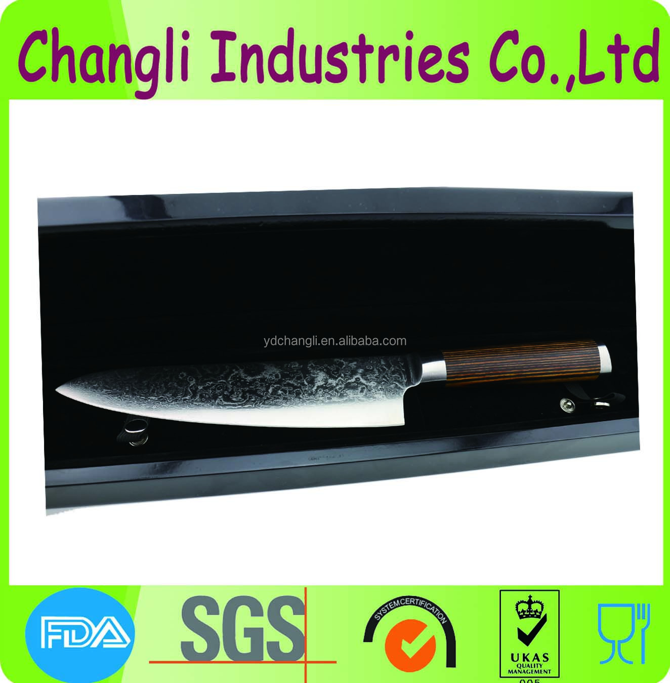 Excellent wholesale VG10 damascus knife with patterns on blade
