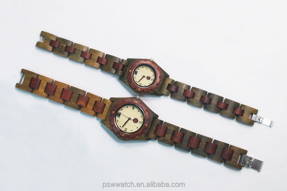 custom bookbinding Roma Japan quartz movt wood watches green sandal couple watch wood watches