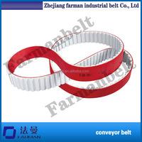 Farman Brand Red Rubber Coated Timing Belt,stretch rubber conveyor belting ,PU open end timing belt for sale