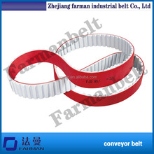 Farman Brand Red Rubber Coated Timing Belt,stretch rubber conveyor belting ,PU open end timing belt for sale