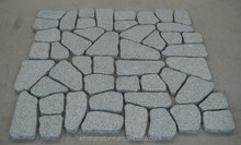 China Crazy Pattern Light Grey Flamed Mesh Granite Cobblestone For Driveway Pavers