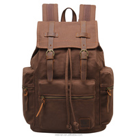 2015 New canvas RETRO canvas leather hasp and drawstring backpack with many pocket school rucksack brand high Capacity