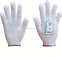 7/10 gauge white knitted cotton gloves manufacturer in china/cotton gloves lighting
