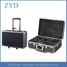 Professional Trolley Aluminum Briefase for Digital Camera, Hard Aluminum Rolling Camera Case ZYD-SM103005