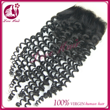 2015 New textures curly Cheap Brazilian Human Hair Lace Closure kinky curl lace closure women's toupee
