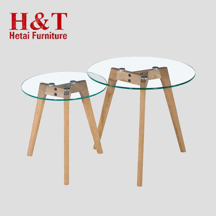madera mesa de centro <span class=keywords><strong>superior</strong></span> de cristal con certificados CE tapa de cristal con patas de roble mesa de <span class=keywords><strong>café</strong></span>-9363- vidrio