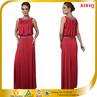 Pictures Formal Dresses Women Sleeveless Draped Red Evening Dress