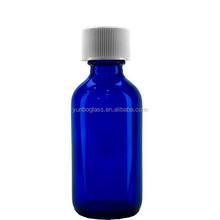 Decorative Cosmetic Perfume Cobalt Blue Boston Round Glass Bottle 2oz with Black Screw Cap in Stock