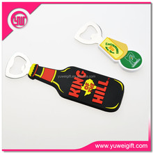 Custom cheap bulk silicone PVC beer shape Hand Held Bottle Openers