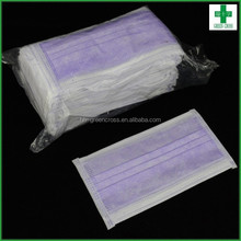 Disposable non-woven 3 ply Royal purple household face mask of 50pcs/box