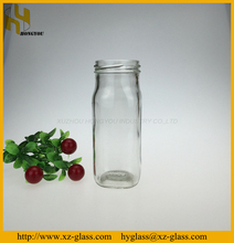 250ml French square shape fresh milk glass bottle with screw top