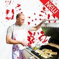 Venta al por mayor de encargo barato del algodón personalizada cocinero divertido cocinar carniceros delantal de la cocina