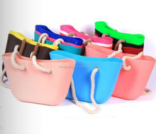 Silicone shoulder bag neon color summer beach bag with rope handle