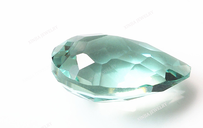 Pear shape light green gemstone clear glass stone view glass stone
